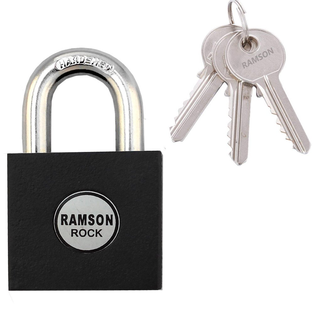 Ramson Rock Hardened Shackle   Heavy Duty Lock   for Gym, Sports, School & Employee Locker, Outdoor, Fence, Hasp and Storage - All Weather Metal & Steel With 3 Pin Cylinder Keys (60mm)