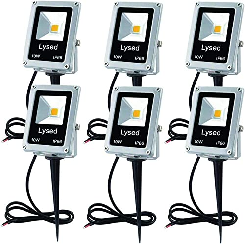 Lysed 10W LED Landscape Lights Low Voltage AC DC 12V Waterproof Garden Pathway Lights Super Warm White 900LM Walls Trees Flags Outdoor Spotlights with Spike Stand 6 Pack