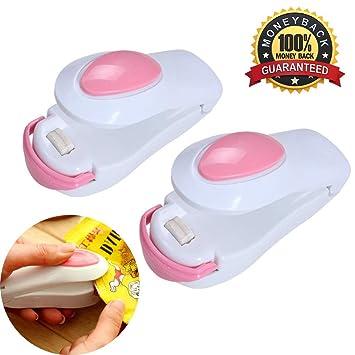 Mini-Schwei/ßger/ät zum Abdichten von T/üten//Verpackungen aus Kunststoff Set aus 2/ wei/ß /& pink Hitzeversiegler f/ür Beutel von Shineus