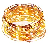 dephen LED Solar String Lights, 120 LED Fairy Lights, 20ft Copper Wire Starry Christmas Decor Rope Outdoor Lighting Garden Wedding Home Patio Camping Party Decoration(Warm White)