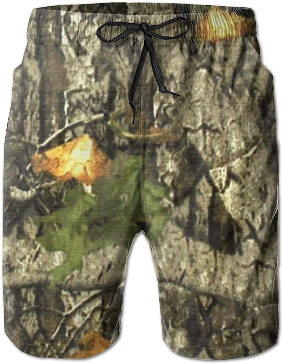 Yt92Pl@00 Mens 100/% Polyester Camo Tree 2 3D Printed Bathing Suits with Pockets Beachwear