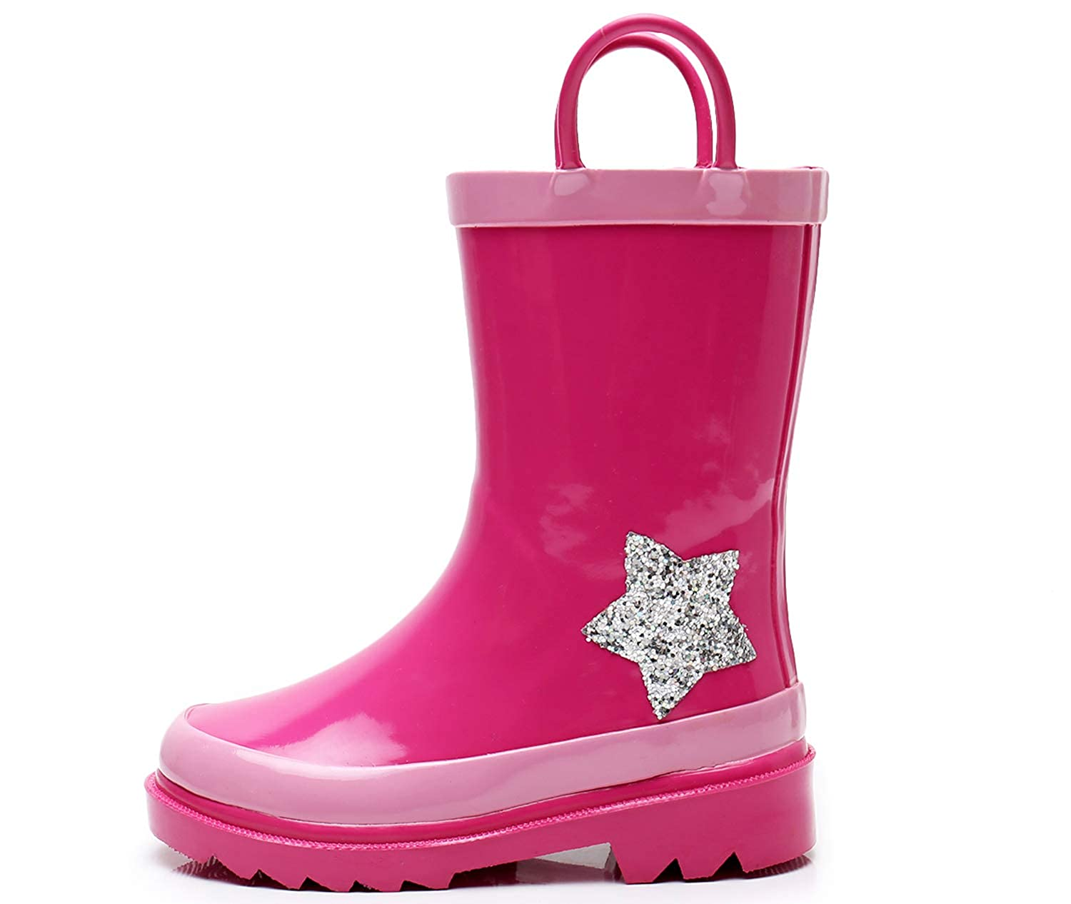 SOLARRAIN Toddler Girls Rubber Waterproof Pink Rain Boots for Kids Outdoor Non Slip Durable Rain Shoes with Easy On Handles