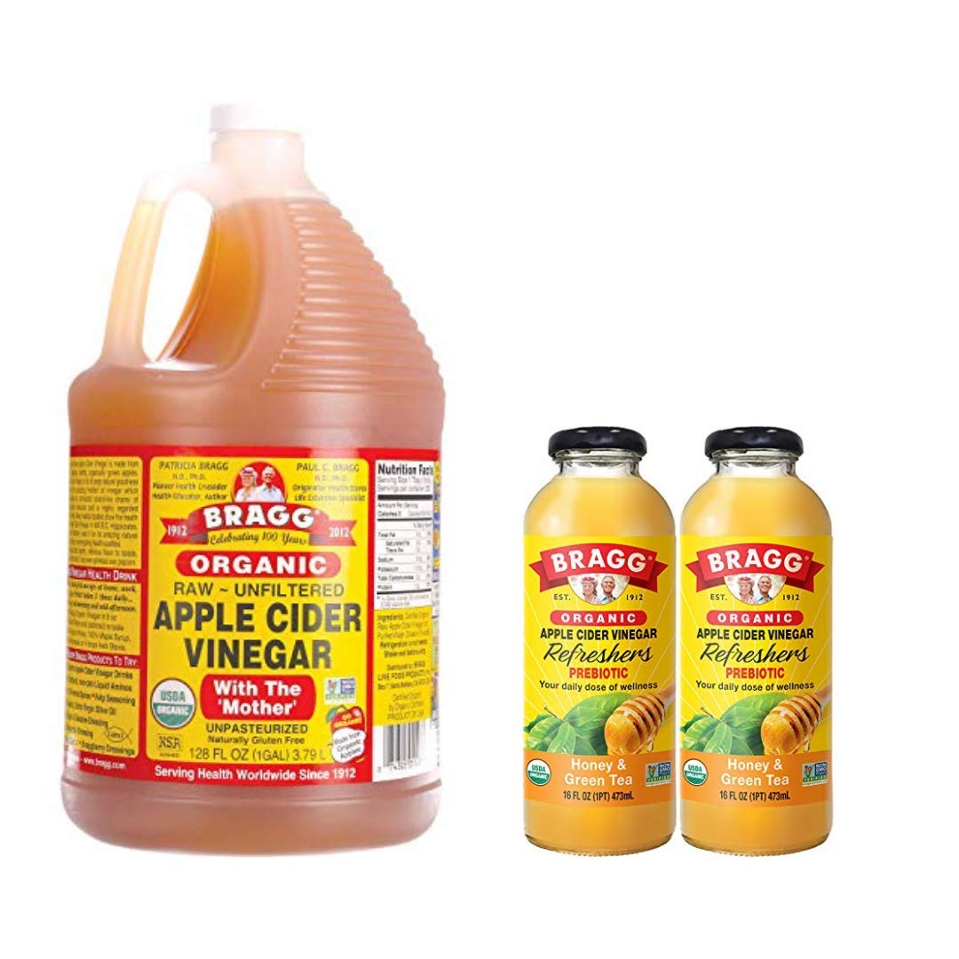 Bragg Organic Apple Cider Vinegar With the Mother 128 ounce and Bragg Organic Honey Green Tea Vinegar Drink 16 Oz Pack of 2 Bundle