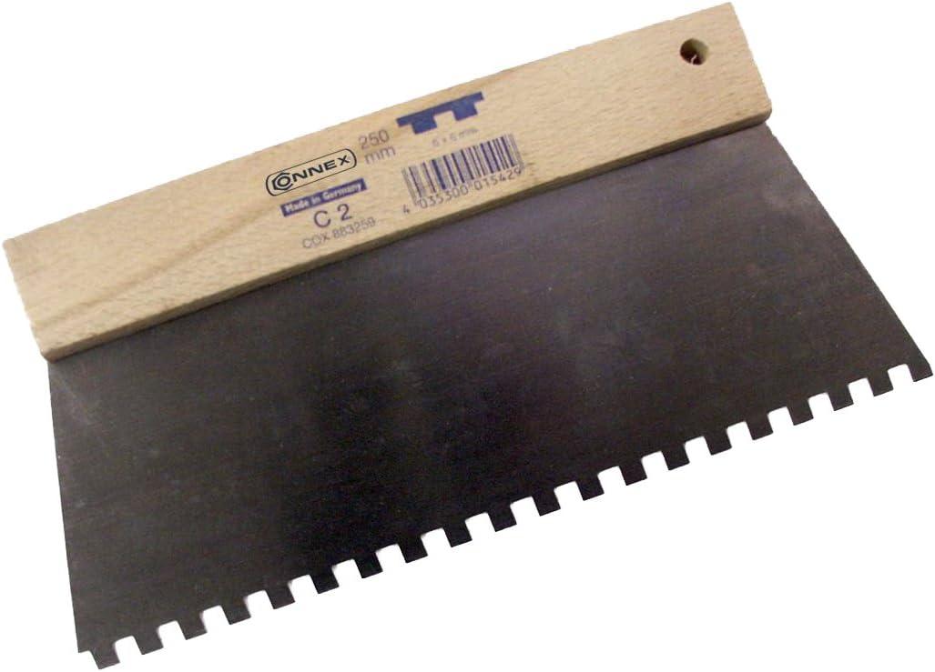 250 mm Carr/é 6,0 x 6,0 Connex COX883259 Plaza de 250mm esp/átula Dentada plateado