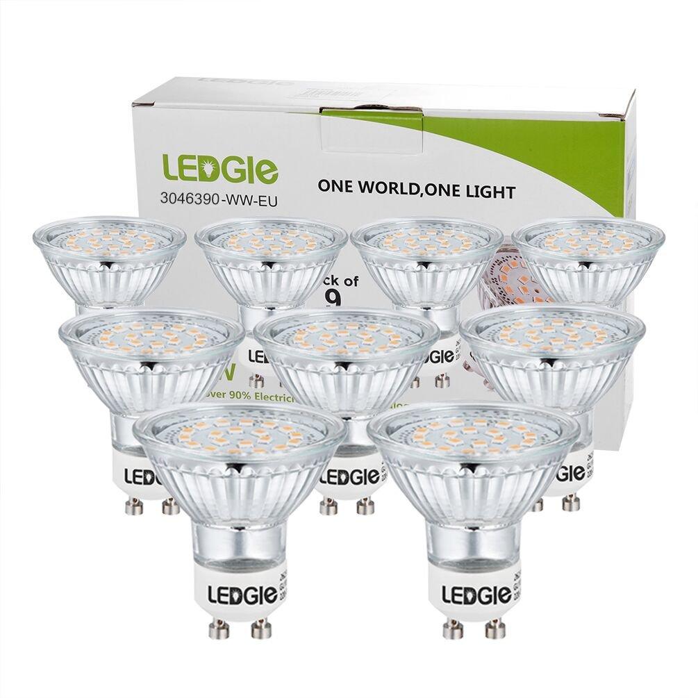 260LM,Warmwei/ß 3000K,Nicht dimmbar LEDGLE GU4 MR11 LED 12V Reflektor LED Spot Strahler,3W ersetzt 36W Halogenlampen 6er-Pack