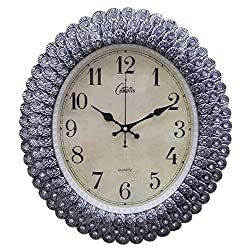 CGGGHY Continental Retro Living Room Wall Clock Modern Minimalist Wall Chart Creative Clock Mute Bedroom Quartz Clock 20-Inch Oval Silver