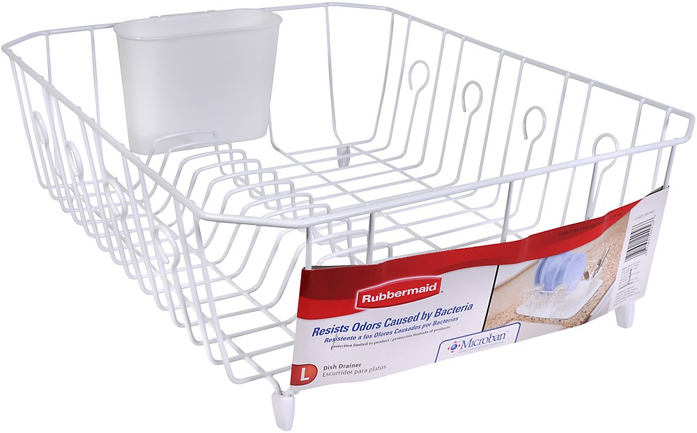 Amazon.com: Rubbermaid AntiMicrobial In Sink Dish Drainer With Silverware  Cup, White, Large (FG6032ARWHT): Dish Racks: Kitchen U0026 Dining