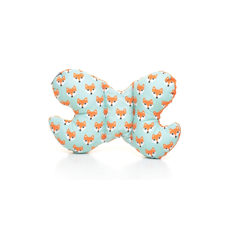 Decorwelt | Baby Fox Cushion 36 cm with Butterfly Pattern Neck Cushion Pillow Children Newborn Head Shape Pillow Cushion Neck Support Pillow milutka