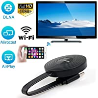Inalámbrico WiFi Pantalla HDMI 1080P Full HD Receptor de televisión Adaptador Soporte Google Chromecast para Netflix Youtube Miracast Airplay Mirroring para Android/Mac/iOS/Windows