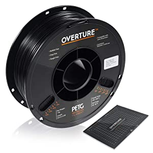 OVERTURE PETG Filament 1.75mm with 3D Build Surface 200 x 200 mm 3D Printer Consumables, 1kg Spool (2.2lbs), Dimensional Accuracy +/- 0.05 mm, Fit Most FDM Printer, Black
