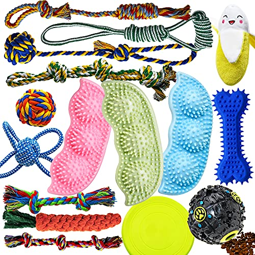Dog Chew Toys for Puppies Teething, Dog Toys 16 Pack Puppy Chew Toys Pea Shaped Rubber Bone Dog Toy Bundle Dog Squeaky…