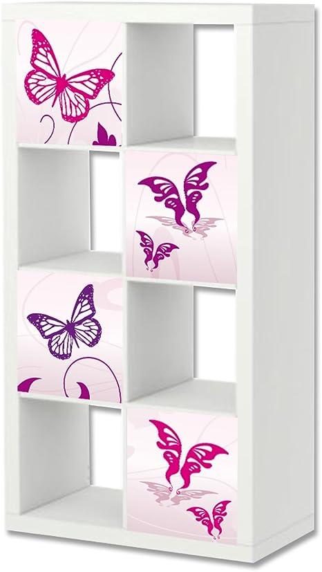 Stikkipix Mariposa rosa Cascarillo para muebles   ER22   Adhesivos adecuados para el estante EXPEDIT/KALLAX de IKEA (mueble no incluido)