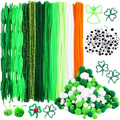 500 Pieces St. Patrick's Day Chenille Stem Pipe Cleaners Set, Including 100 Pieces Pipe Cleaners, 4 Size Pom Poms and 4 Size Wiggle Googly Eyes for Craft DIY Art Supplies
