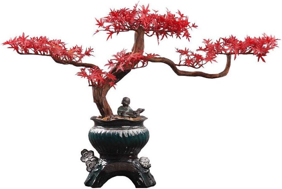 Bonsai Artificial Creativa al estilo chino Raíz tallar artesanías adornos, Zen artificial de arce rojo falso Bonsai la decoración del hogar, cerámica Tiesto artificial en maceta figurilla de cerámica