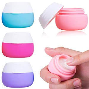 Travel Containers Sets, AMMAX Silicone Cream Jars for toiletries, TSA Approved Travel Size Containers with Hard Sealed Lids for Face Hand Body Cream 20ml (4 Pieces)