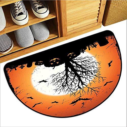 Commercial Grade Entrance Mat, Vintage Halloween Indoor Out-Imdoor Rugs for Kids Room, Grunge Halloween Image with Eerie Atmosphere Graveyard Bats Pumpkins ( Orange Black, H20