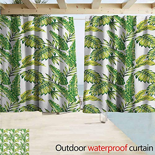 Palm Bamboo Curtain - Wlkecgi Jungle Sliding Door Curtain Bamboo Palm Plants Jungle Colored Exotic Leaf Foliage Tropical Forest Theme Perfect for Your Patio, Porch, Gazebo, or Pergola W55 xL63 Lime and Fern Green