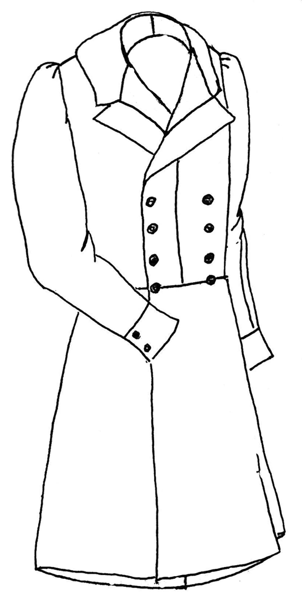 """Period Impressions Sewing Pattern: 1840s Double Breasted Frock Coat - Medium (40-44"""")"""