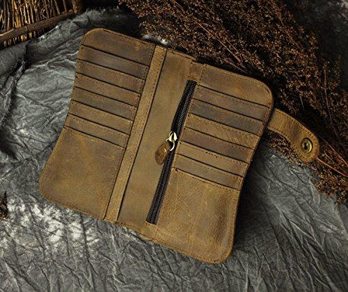 Le'aokuu Carteras de moda para hombre bolsa de mano monederos de piel genuina Organizadores de bolsos marrón Tigre