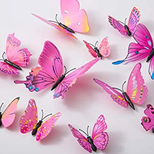 36PCS Butterfly Wall Decals - 3D Butterflies Decor for Wall Sticker Removable Mural Stickers Home Decoration Kids Room Bedroom Decor (Pink Red)