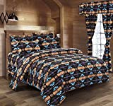 Western Essence Southwest Native American Design Navajo Black And Turquoise 4 Piece Comforter Set (Queen)
