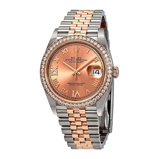 Rolex 126281PRDJJ- Reloj de Pulsera para Mujer con Esfera de Diamante Rosa automática Datejust 36 DE Acero y Oro de 18 Quilates: Amazon.es: Relojes
