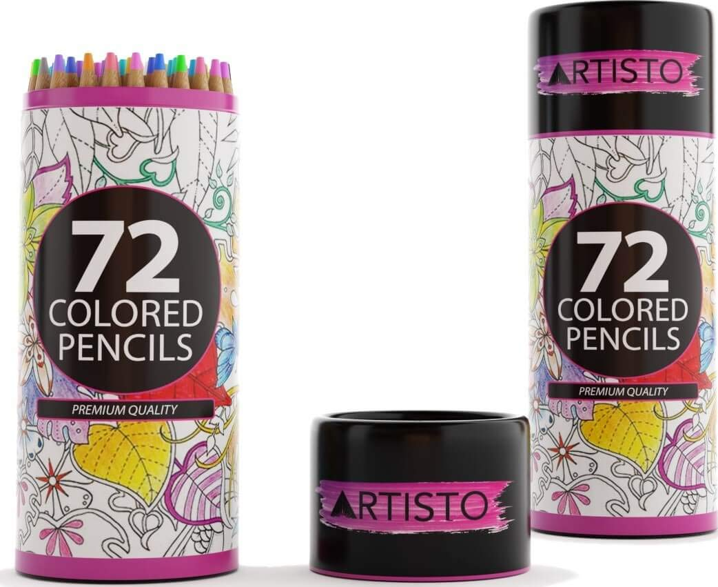 Artisto 72 Colored Pencils, Soft Core, Art Coloring Drawing Pencils for Adult Coloring Book, Sketch,Crafting Projects by Artisto (Image #1)