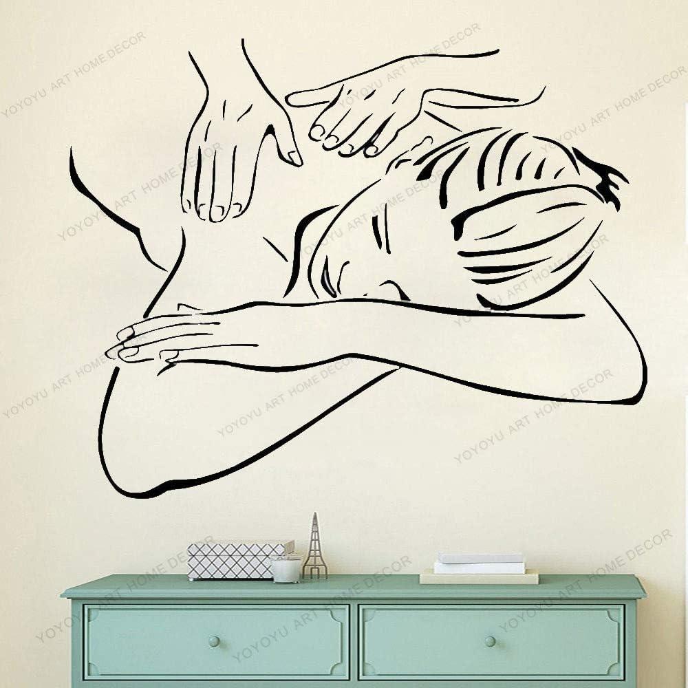wZUN Salón de Belleza Vinilo calcomanía Masaje Pegatina Mujer diseño Mural salón de Belleza decoración 42X56 cm
