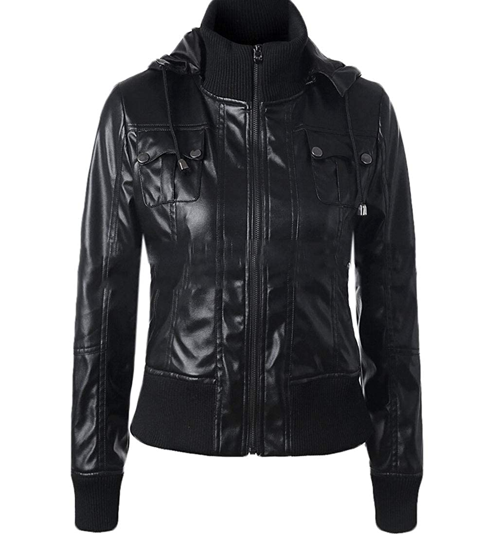 Black Generic Womens Coat Casual Faux Leather Hood PU Leather Motorcycle Jacket