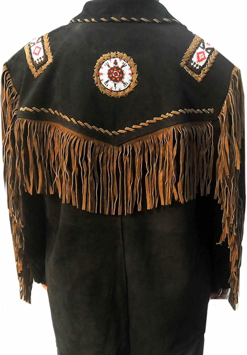 coolhides Western Leather Jacket with Beads and Fringes XS-5XL