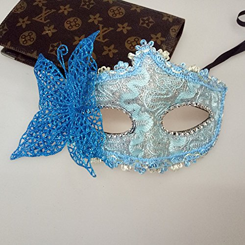 Creative Home Supplies Lake Blue Butterfly Mask Venetian Princess Half-Face Mask for Cosplay Party Masquerade Deserve to Buy ()
