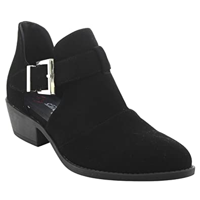 FL40 Women's Stitching Ankle Strap Buckle Stack Med Heel Ankle Booties
