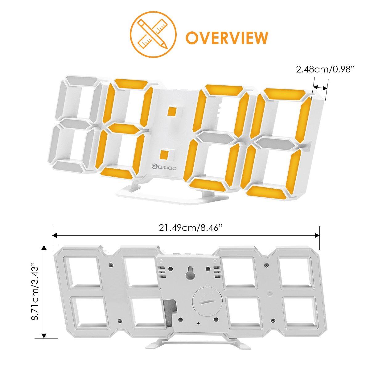 digoo dc-k4 gran 3d led reloj digital despertador Función Snooze 2 colores multifunción blanco: Amazon.es: Electrónica