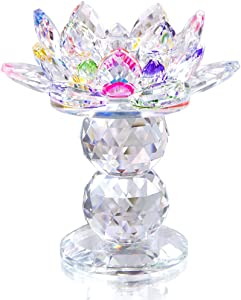 H&D HYALINE & DORA Colorful Crystal Lotus Candle Holder Decor for Home,4.5 INCH