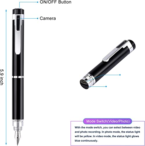 Hidden Camera Pen Spy Camera Pen 1080P pinhole Camera with 32GB SD Card for Business Negotiation Lecture Shooting Evidence
