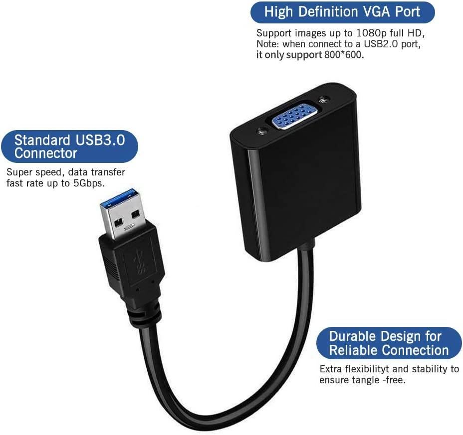 USB 3.0//2.0 to VGA Adapter 1080P HD Multi-Display Video Converter PC Compatible with Windows 7//8 // 8.1//10 for Computer Monitor Projector,HDTV USB to VGA Adapter Desktop Laptop