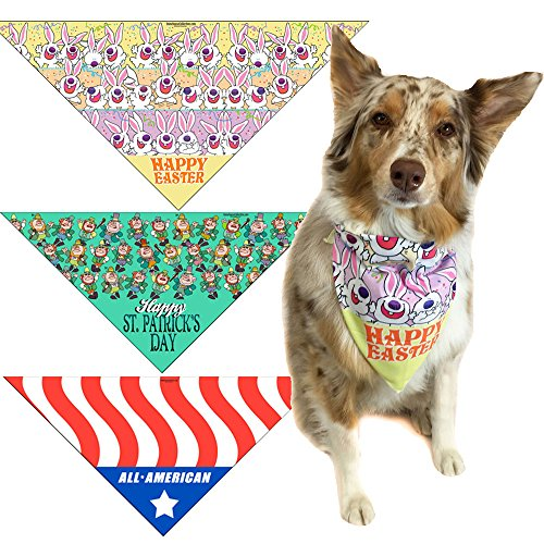 Easter, St Patricks Day & 4th of July Dog Bandana Med to Large Dogs - Set of (Easter Bandana)