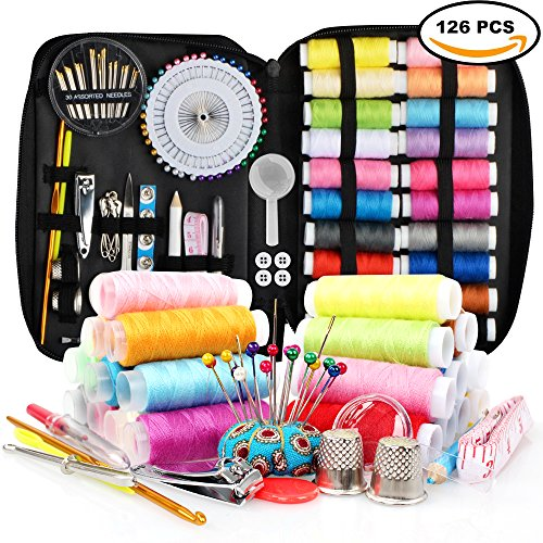 Sewing Kit with 126pcs Sewing Supplies,Mini Sewing Kit for Beginner,Traveler,Adults and Emergency,Kids, with Mending Supplies and Sewing Accessories,22 Spools of Thread, 22 Colors, Carrying Case by TIC-TEC