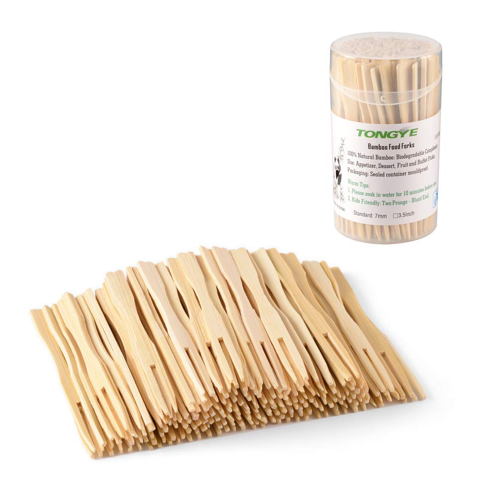 TONGYE Bamboo Forks 3.5 Inch, Mini Food Picks Party, Banquet, Buffet, Catering Daily Life. Two Prongs - Blunt End Toothpicks Appetizer, Cocktail, Fruit, Pastry, Dessert. (110 PCS)
