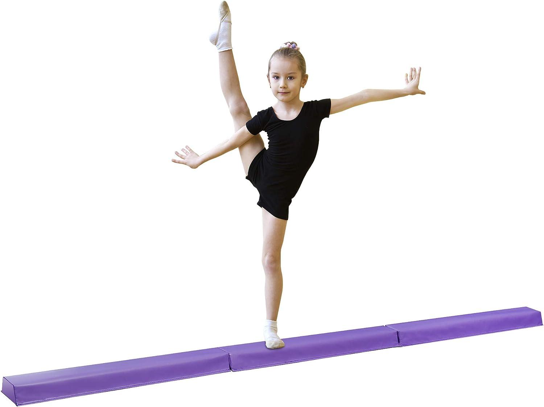 Oteymart Balance Beam Folding Gymnastics Beam Extra Firm Foam Anti-Slip Bottom Equipment for Floor Home Training, Kids, Adults