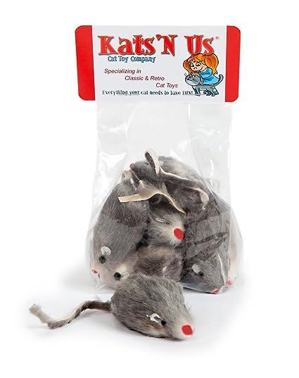 Amazon com : Kats'N Us Real Rabbit Fur Mouse Cat Toy - 10