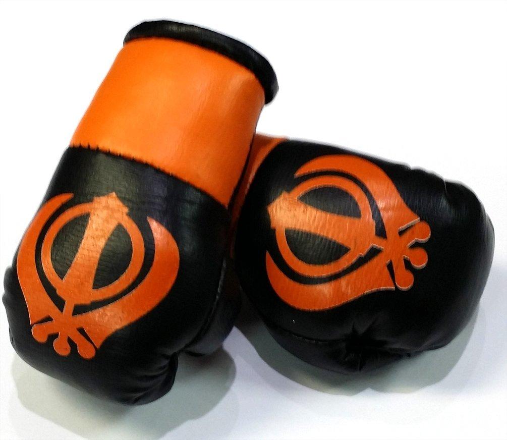Black /& Orange Sikh khanda Miniature Boxing Gloves