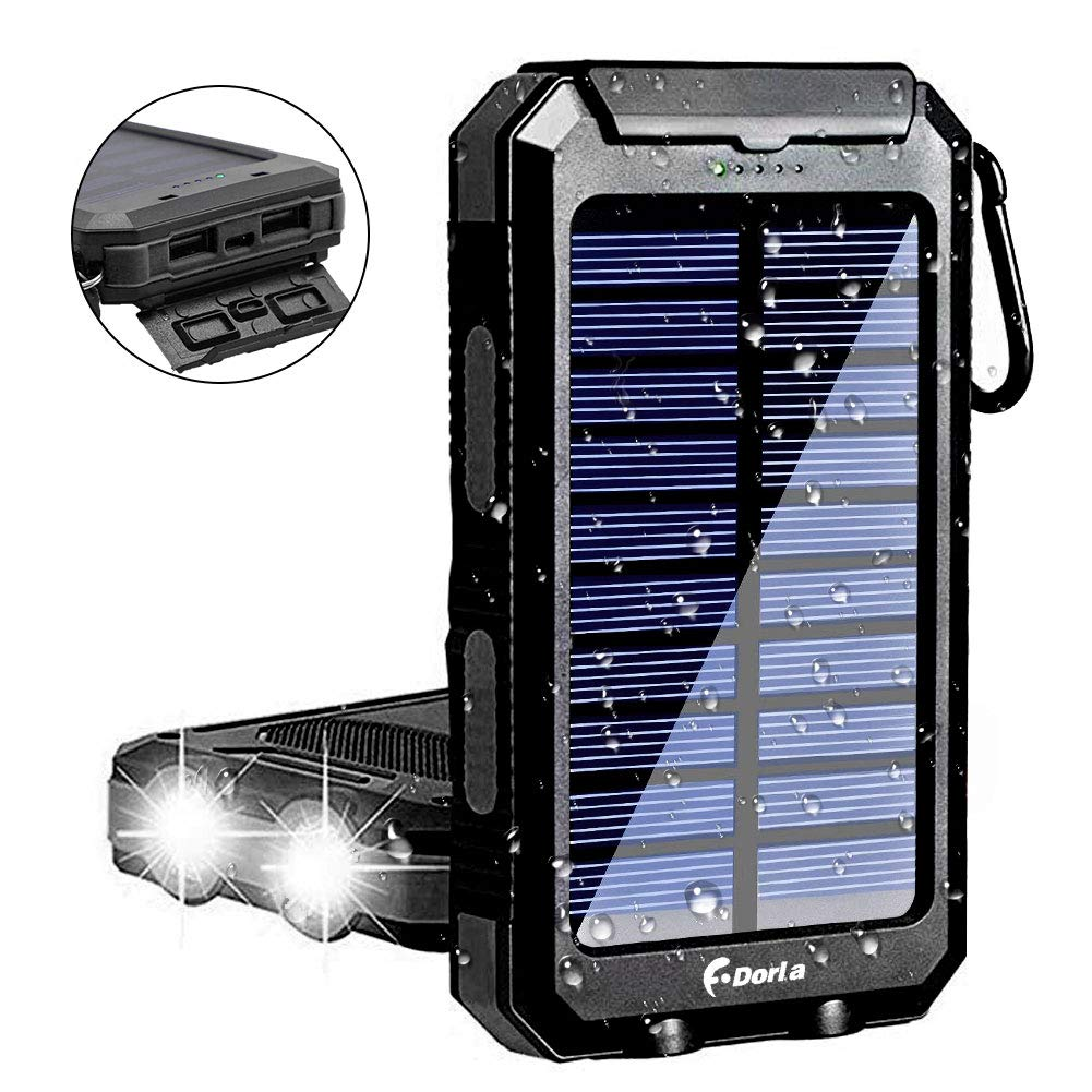 Solar Charger 10000mAh, F.Dorla Portable Solar Power Bank with 5V USB Ports, Durable Solar Phone Charger Plus Flashlight(SOS) for Outdoor Activity/Power Blackout (Waterproof) by F.DORLA