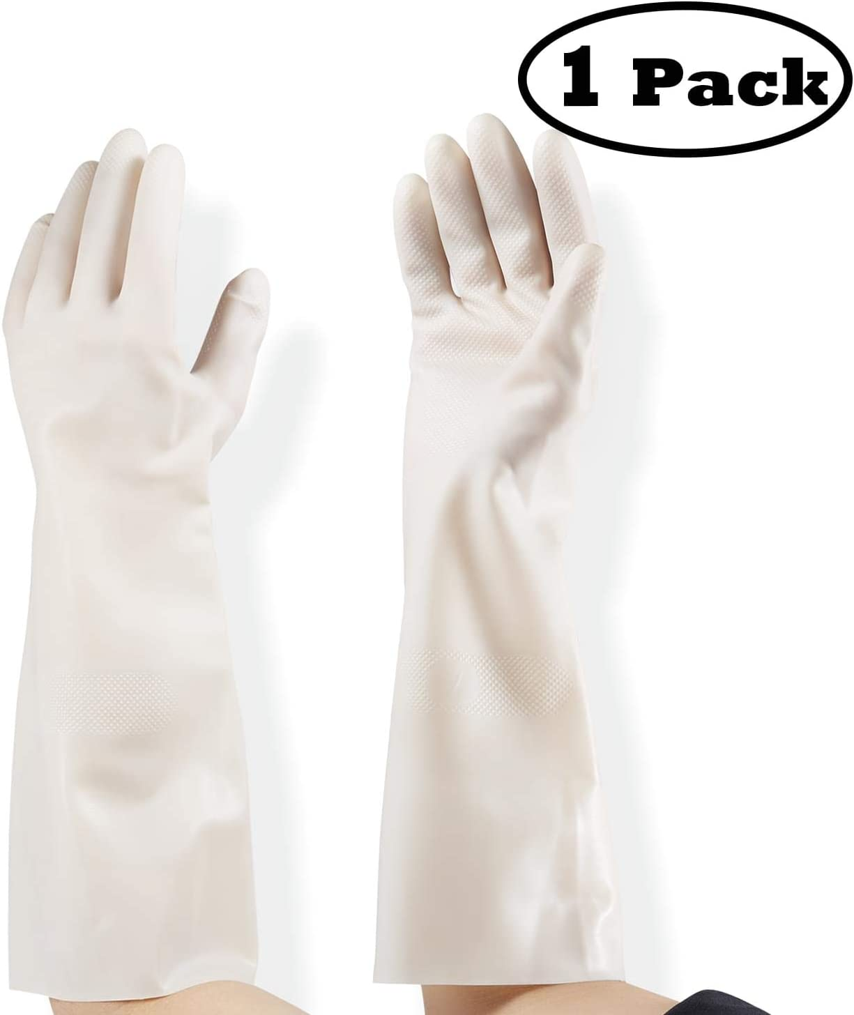 Dishwashing Cleaning Nitrile Gloves Latex-Free,Waterproof Reuseable Gloves, 15 Inch Long Cuff, Kitchen Gloves