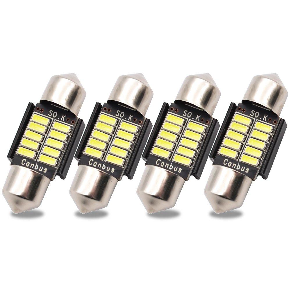 Kashine C5W LED Bulb 39mm Festoon LED Canbus Error Free Sidelight bulbs 30-3014 Dome Map Light for Car Interior License Plate Lights Courtesy Lights Lamp White 12V (Pack of 4)