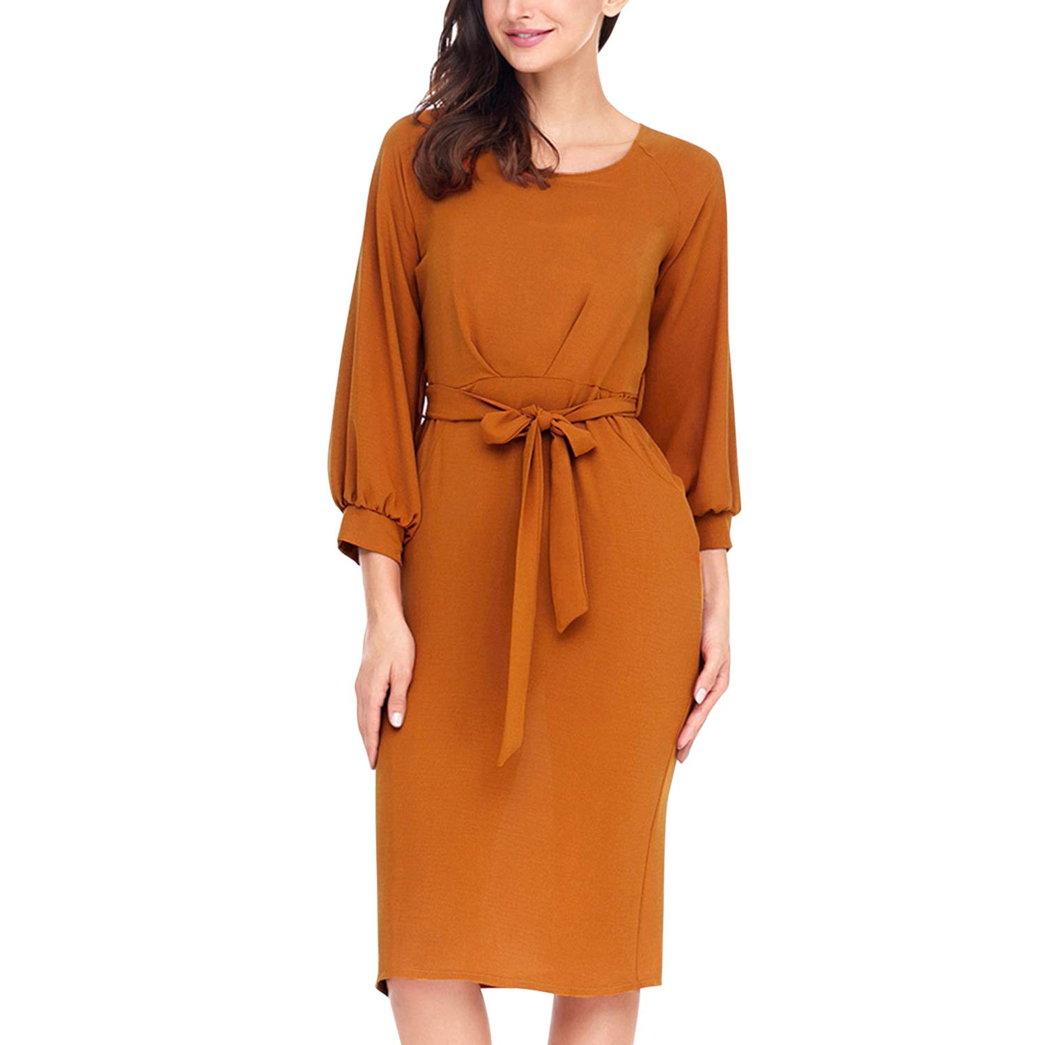 Lisli Womens Round Neck Pencio Dress Puff Sleeve Belted Skirt with Pockets