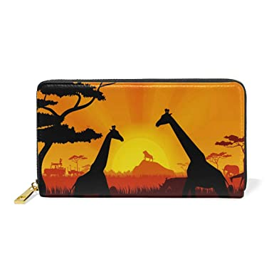 Girl And Animals Genuine Leather Girl Zipper Wallets Clutch Coin Phone For Women