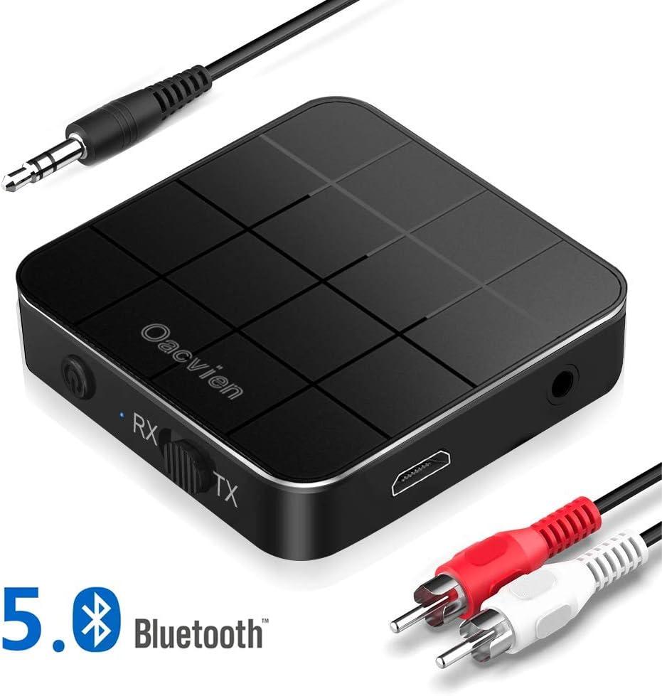 Oacvien Adaptador Bluetooth 5.0, Transmisor Receptor Bluetooth 2 en 1 Adaptador Inalámbrico RCA & 3.5mm AUX, Baja Latencia Audio Estéreo para TV, PC, Cascos, Música Inalámbrico en Coche