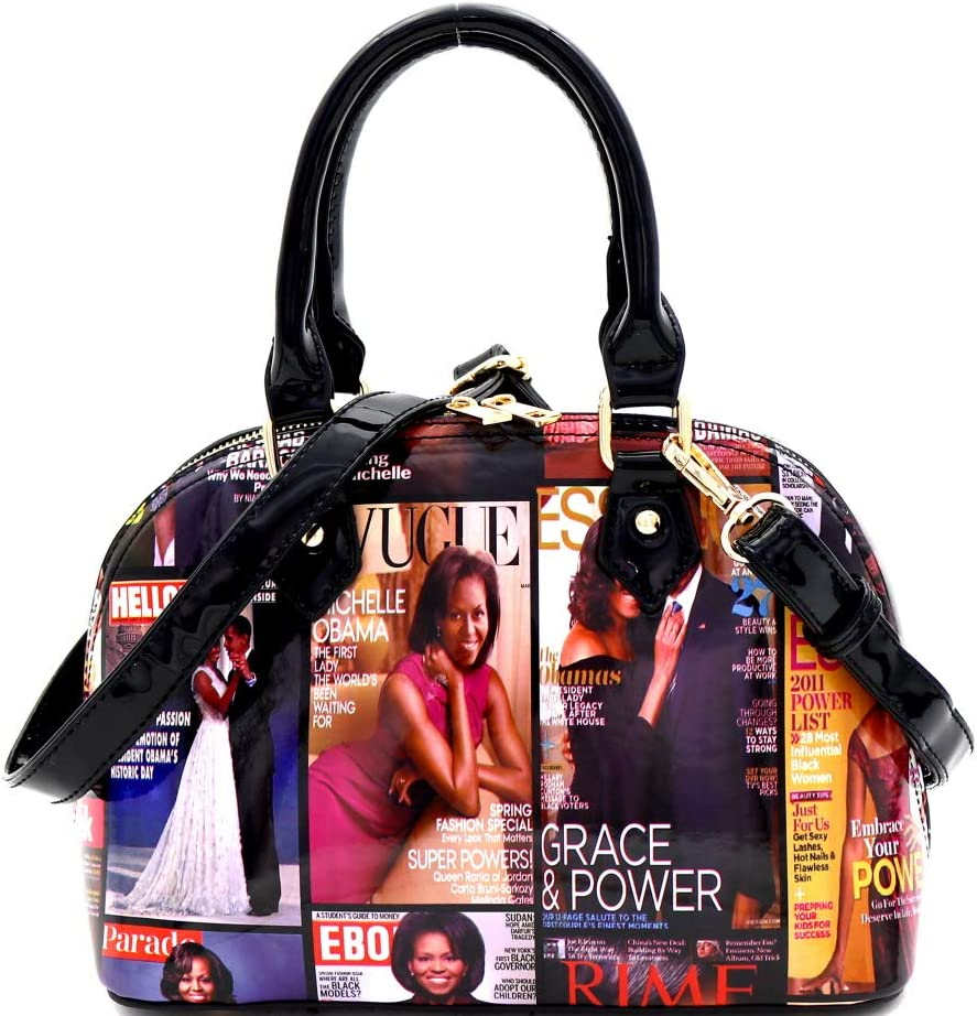 Details about  /Michelle Obama Magazine Print Jewel Knob Clutch Dressy Frame Square Satchel Bag