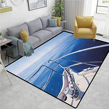 Yucouhome Navy Humorous Area Rug Kitchen Boat Show Ocean Sea Life With Ship Yacht Landscape Of Islands Image Photo Durable Carpet Area Rug Living Dinning Room Bedroom Rugs And Carpets 8 X 10